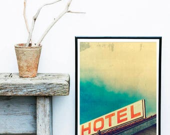 Hotel California Retro Vintage Poster Print, Retro Hotel Sign, Hotel Sign Art, Hotel Art, Vintage Style Hotel Sign