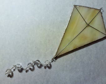 Stained Glass Suncatcher Ornament; Yellow Kite