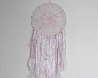 Pink and white double dreamcatcher – baby shower gift – pink bedroom