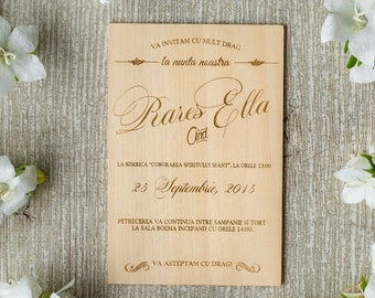Hochzeitseinladung rustikal holz
