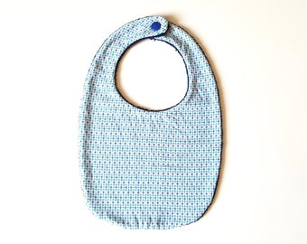 Blue and white cotton bib