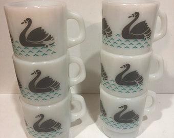 Set of 6 Termocrisa Grey Swan Mugs