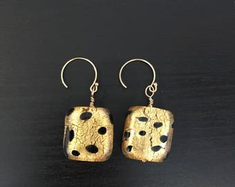 Murano Glass Earrings, Gold and Black