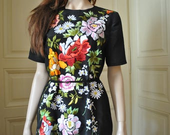 Embroidered dress etsy hand embroidered long black dress with flowers black embroidered dress style dress with embroidery ccuart Images