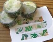 Chamil Garden Washi Tape New Leaf Green Botanical Design 10m Roll 15mm width