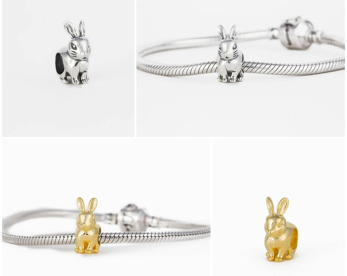 Bunny Charms for Bracelet | Silver Jewellery, Easter Charms for Bracelet, Gift for Her Rabbit Charm, Silver Delicate Jewellery Gift
