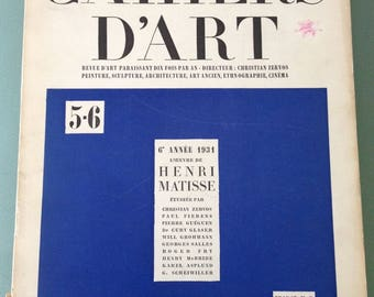 1931 MATISSE special issue CAHIERS D'ART #5-6  text Guillaume Apollinaire,  Christian Zervos ...