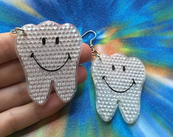 Reflective Toy Teeth Earrings // Dentist gag gift // Rave