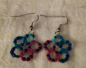 These are some beautiful  multi colored hand tatted  earrings
