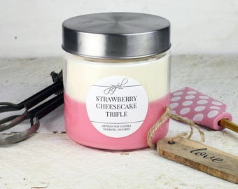 Soy Candle-Strawberry | Mason Jar Candles | Best Seller | Container Candles | Homemade Candles | Dessert Candle | Scented Soy Candle |  24oz