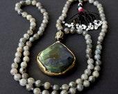 Labradorite bronze necklace with buddha