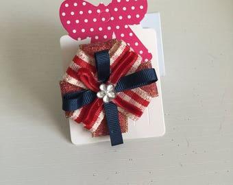 Red and navy mini circular hair bow