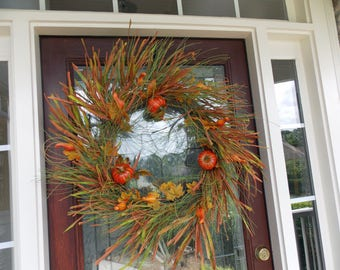 XL Wreath-Fall Wreath-Autumn Wreath-Pumpkin Wreath-Thanksgiving Wreath-Fall Door Decor-Fall Door Wreaths-Natural Wreath-Front Door Wreaths