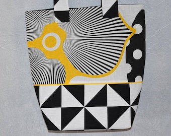 Tote bag / tote bag / tote bag - canvas - double - patterns * flowers and leaves * geometric black, yellow and white