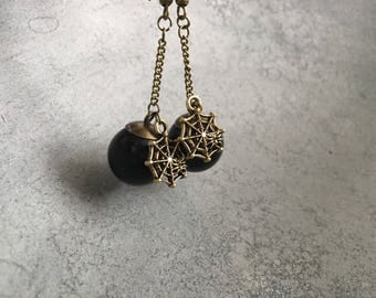 Black drop sphere earrings with spiderweb charms, Resin Sphere Earrings, Resin Jewelry, Spiderweb, Halloween, Nature Inspired, Christmas