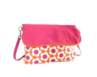 Reversible orange and pink flowers fabric bag