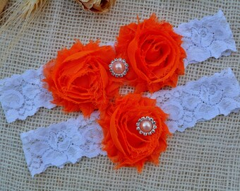 Wedding Garter Set, Bridal Garter, Wedding Garter Belt, Orange Wedding Garter, Rustic Garter Set, Lace Bridal Garter, Rustic Wedding Garter