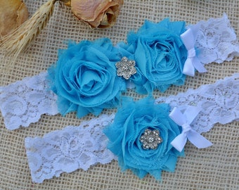 Garter, Turquoise Bridal Garter, Wedding Garter Set, Turquoise Set, Turquoise Garter Blue, Bridal Garter, Something Blue, Floral Lace Garter