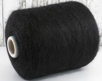 100g kid mohair/Silk (Italy) on cone, black: Y001150