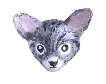 Paper Mache animal head wall Cat Poes