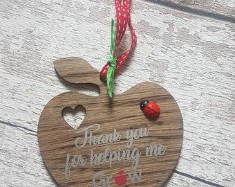 Thank you for helping me grow, oak hanging teacher gift,teacher,nursery,teaching assistant,child minder,end of term, gifts,ladybird