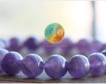 Amethyst Bracelet, 8mm Genuine Amethyst, Anxiety Relief, Third Eye bracelet, Meditation bracelet, Beaded Stretch Bracelet, purple jewelry
