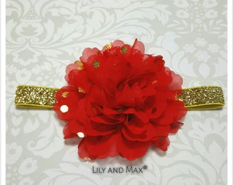Red and gold headband, red and gold polka fluffy flower elastic headband, soft baby headband, toddler headband, photo prop