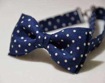 Children Bow tie Navy Blue polka dots Kids Bow Tie Bow Tie For Child Toddler Bow Tie Kids Bowtie Tie Bow For Kids Gift for Son Children Gift