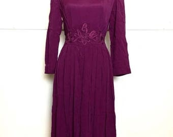 SALE 80s/90s Plum Embroidered Maxi Dress