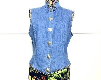 SALE VTG 80s Denim Studded Vest