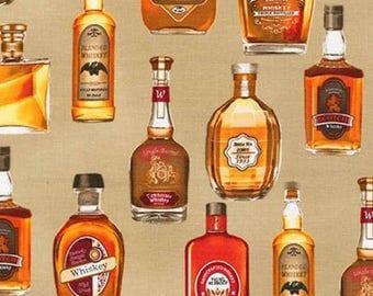 Liquor Fabric, Whiskey Fabric: Robert Kaufman Natural Cheers Whisky - Whiskey Bottles 100% cotton Fabric  (RK13)