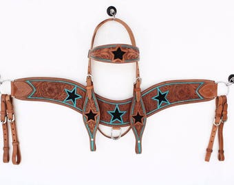 Handmade Metallic Turquoise Star Western Horse Trail Headstall Leather Bridle Tripping Breast Collar Plate Tack Set Made To Order