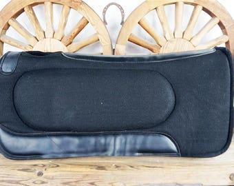 BLACK Wool Felt Leather Contoured Spine Western Horse Saddle Pad