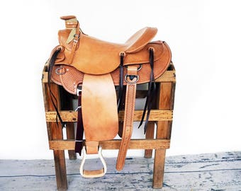 Hard seat Handmade Western Pleasure Trail Wade Horse Leather Saddle