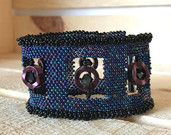 Blue Cosmic Peyote Stitch Window Bracelet