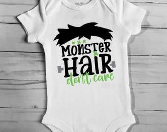Monster Hair Don't Care Halloween Baby Bodysuit