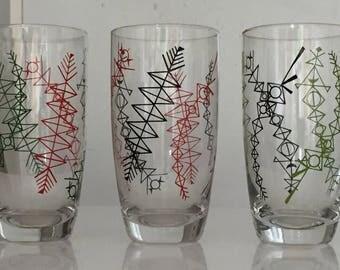 3 retro glazen Fifties sixties glasses vintage sapglazen