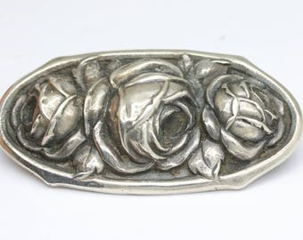 FOR LORI / PART 2 Antique silver rose pin, big oval flower brooch, German jewelry, 800 silver jewelry, silver sash brooch,