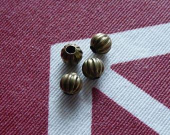 6mm Bronze Beads, Pumpkin Beads, 6mm Bronze Antique Brass Spacer Beads, Round Striped Spacer Beads, Metal Beads