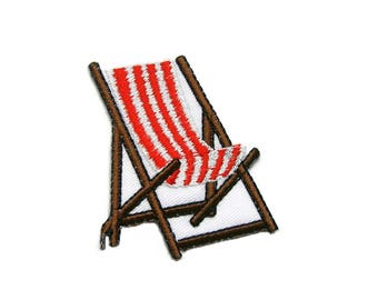 Beach Chair Embroidered Applique Iron on Patch 6.4 cm. x 7.1 cm.