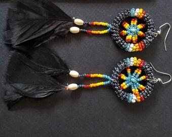 Seed bead earrings, native American earrings, dream catcher earrings, beaded earrings