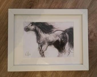Framed pony print // framed horse print // horse print // horse art // equine art // gift for horse lover // pony gifts // horse gifts