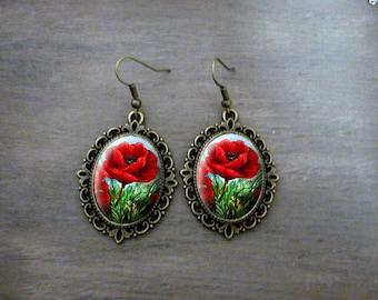 Boucles d'oreilles Ovales festonnées, Boucles d'oreilles cabochon rétro vintage romantique fleur coquelicot Boucles d'oreilles romantique