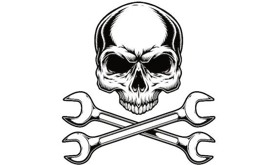 Mechanic Logo 4 Skull Wrench Crossed Engine Car Auto