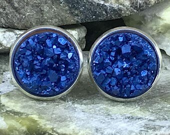 Arctic Blue Druzy Earrings - Bridesmaid Gift - Earrings - Drusy - Stud Earrings - Druzy Jewelry - Gift - Blue - Jewelry - Druzy Earrings -
