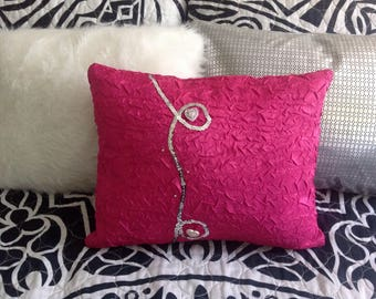 """Pink  Ruffled like Silk Pillow with Hearts,Rhinestones  and Decorative """" Embroidered"""" Silver  Cord"""