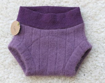 Small Wool Blend Diaper Cover in Grape Purple