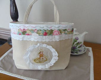 mini small linen tote bag romantic girl seated transfer lace