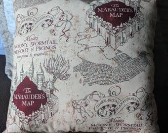 Back in stock! Harry Potter gifts. Fun, Harry Potter Marauder's Map pillow.