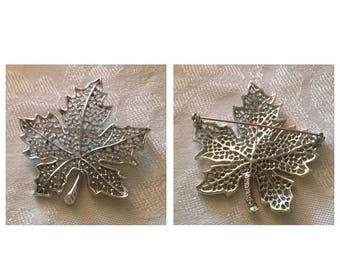 On Sale Vintage Sarah Coventry Silvertone Leaf Pin